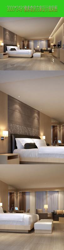 欧式奢华卧室内床头背墙侧向设计效果图