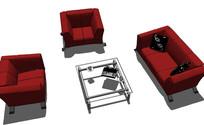 红色高级沙发组合SU