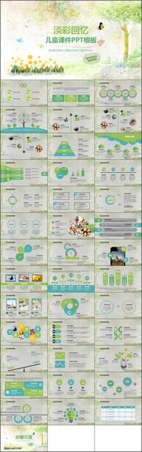 教师儿童教育绿色卡通动态PPT模板