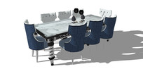 蓝色欧式风格方桌