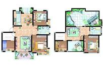 两套别墅顶层住宅平面图