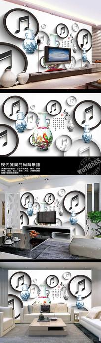 青花瓷梅瓶立体圆圈音符古典背景墙