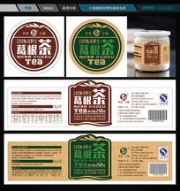 三福葛根茶塑料瓶贴包装