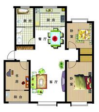 三室两厅家庭户型图 PSD