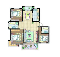 三室两厅两卫户型设计平面图