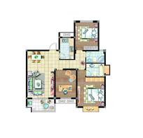 三室两厅两卫户型图 PSD