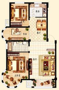 三室两厅一卫户型平面图