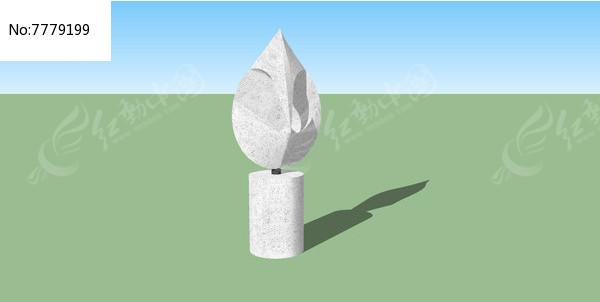 双扇叶子轮廓雕塑图片