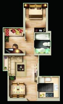 小户型家庭平面布置图