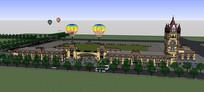 游乐园大门模型