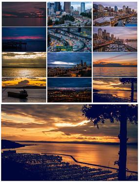 4K超清西雅图黄昏城市美景实拍