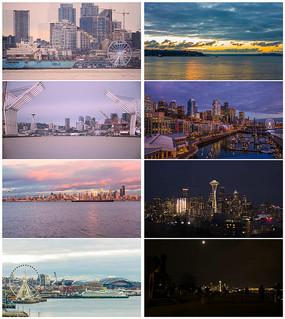 超清西雅图黄昏夜景美景实拍视频