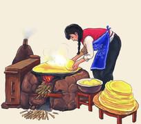大辫子姑娘灶台生火烙饼插画