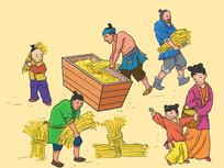 稻米丰收插画