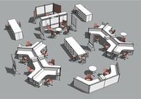 多种空间办公桌椅组合模型