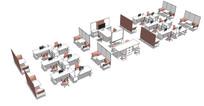 多种组合办公商务桌椅隔断空间
