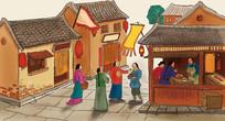 古代街道店铺插画