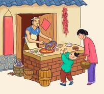 古代街道小摊厨师炒鸡插画