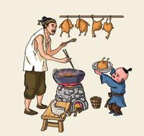 古人生火老人儿童炖鸡美味插画