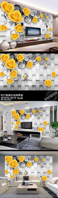 黄玫瑰立体墙面3D时尚背景墙