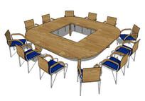 回字型会议木质桌椅