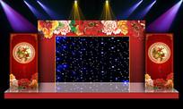 牡丹花开唯美中式婚礼婚庆舞台背景