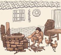 农村妇女灶台烧柴火做饭插画