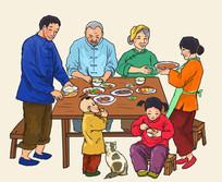 农村家庭欢喜团圆饭插画