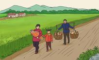 农村农民挑扁担带小孩回娘家插画