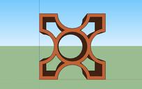 室内木制装饰隔断SU模型