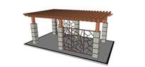 中式景观廊架模型
