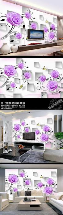 紫色玫瑰花立体方形3D时尚背景墙