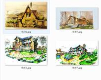 别墅景观设计透视图手绘