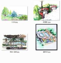 城市公园手绘
