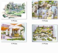 城市小区广场景观设计手绘透视图