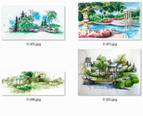 城市住区广场景观手绘效果图