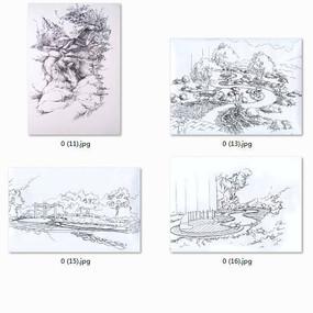 原创设计稿 方案意向 手绘素材 景观设计平面图黑白线稿  下载收藏