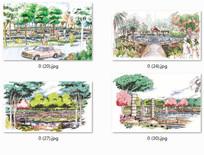 广场水景观特色设计手绘图