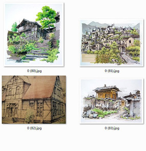 古老的中式建筑手绘彩色
