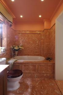 红色石质铺装卫浴