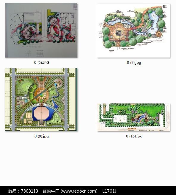 花园别墅景观设计彩色平面手绘图片