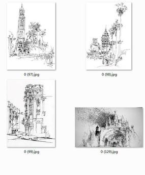 欧式小镇建筑景观手绘透视图线稿