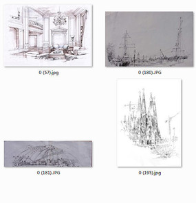手绘效果图黑白线稿 欧式客厅家具沙发组合 客厅一角室内设计效果图