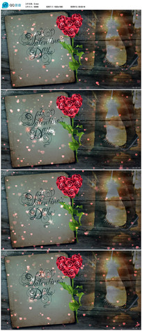 闪烁爱心玫瑰花高清视频