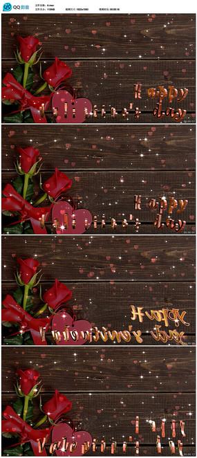 闪烁爱心情人节玫瑰花背景视频