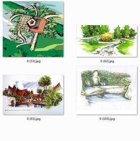 特色水景观透视图图手绘