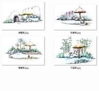 温泉景观特色茅草亭手绘