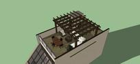 屋顶木制廊架模型