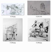 现代建筑手绘效果图线稿