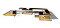 校园现代廊架模型